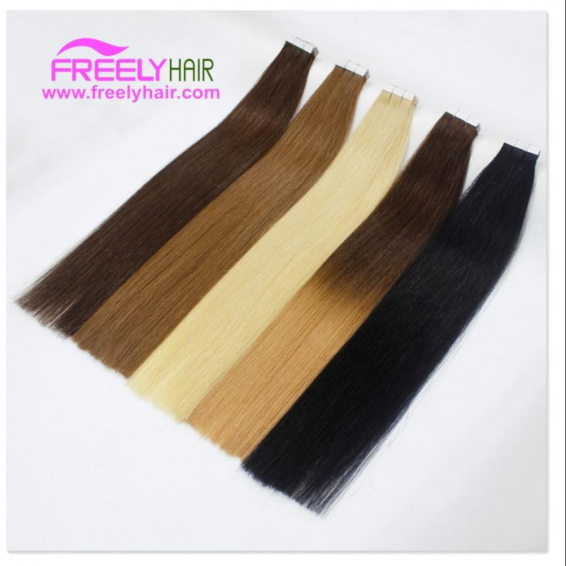 Remy Tape in Hair Extension 2g/piece 20pieces/Pack Natural Black Human Hair  Weft