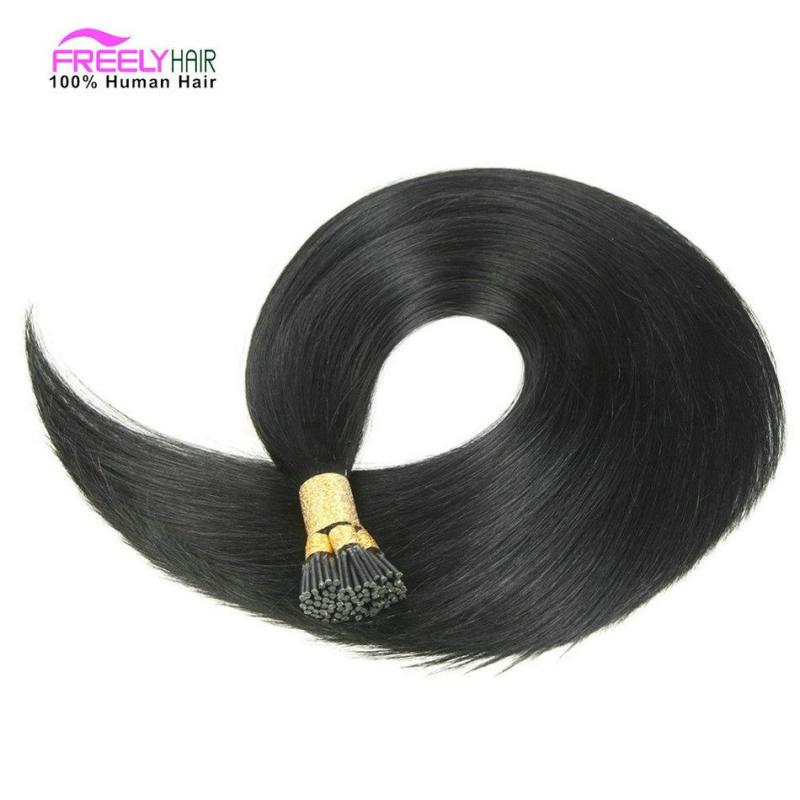 22 Inch Stick I- Tip Keratin Remy Hair Extensions Human Hair Natural color 50 Strands/pack 50g/pack