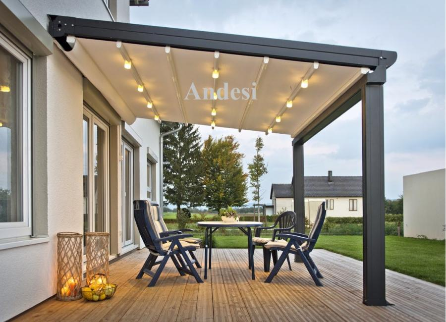 outdoor living sunshade retractable PVC pergola