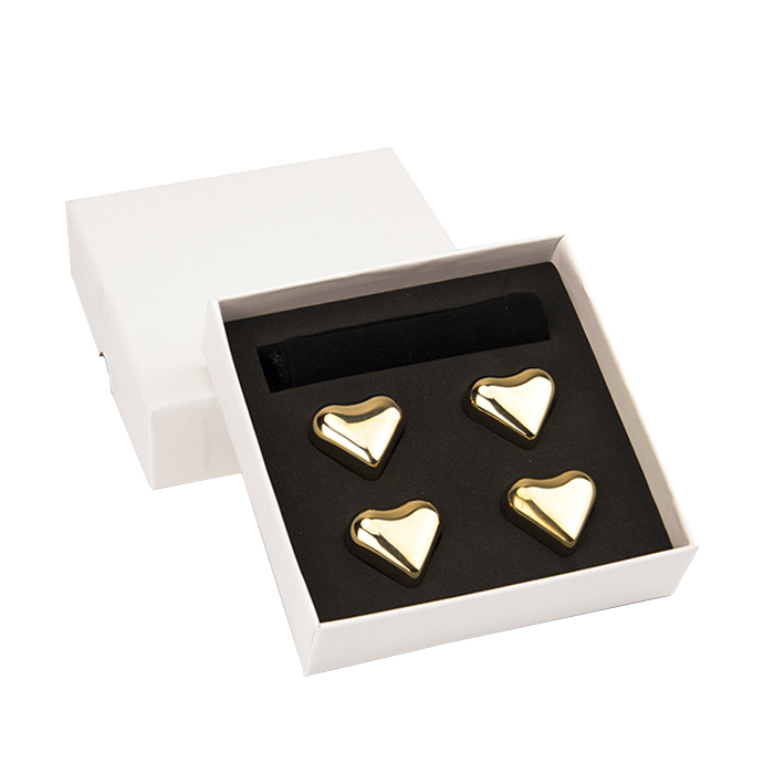 Food Grade FDA free With MSDS 304 gold silver heart shaped Stainless Steel Metal Ice Cubes