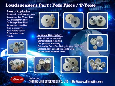 Speakers parts T-Yoke and Pole Plate made in Taiwa